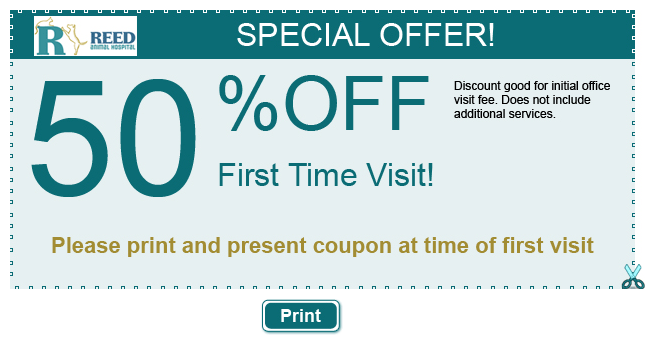 50% off first time visit coupon